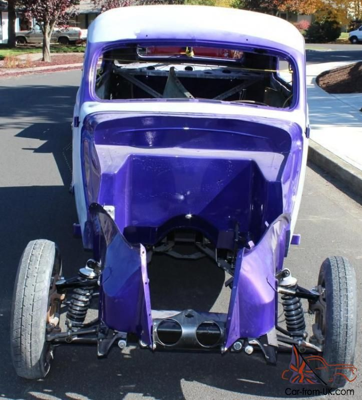 Up for auction is a 1937 Ford two sedan flatback\slantback.  This is an all steel car with no fiberglass parts.  Body work has been completed on all parts of the car except for the front fenders.  The frame. underneath of the car. firewall have been painted.  I have one more gallon of purple that will go with the car the car to complete the job.  I have all garnish moldings for the windows includi