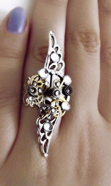 'Time and space' Silver crystal angel steampunk ring