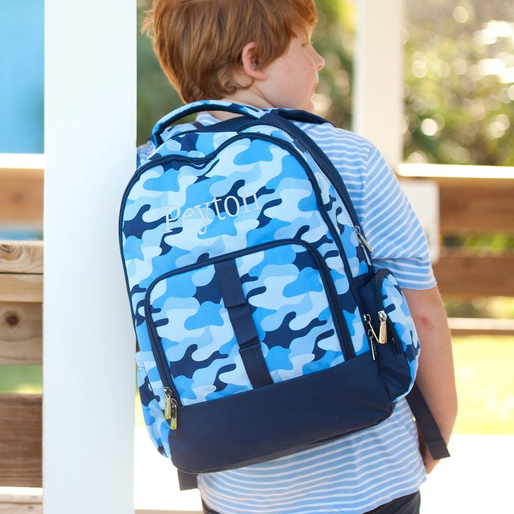 Cool Camo Knapsack - Monogram Boys Backpack - Blue Camo Knapsack - Personalized Backpack - Monogrammed Backpack - Boys Backpack - Camo Gift by SerenityoftheSouth on Etsy - how cute is our new cool camo pattern! Perfect for Summer camp, vacation, hiking, back to school and more! We also offer many matching pieces!