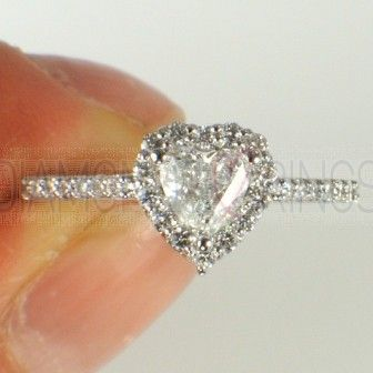 Heart Shape Diamond Ring with Diamond Halo Top