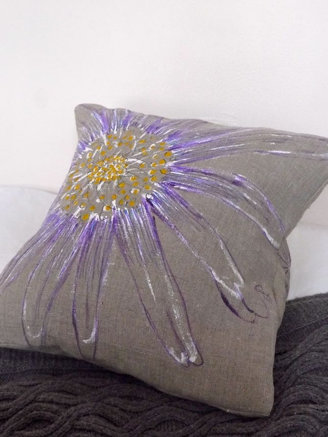 Natural Linen Cushion With Hand Painted Daisy Daisy