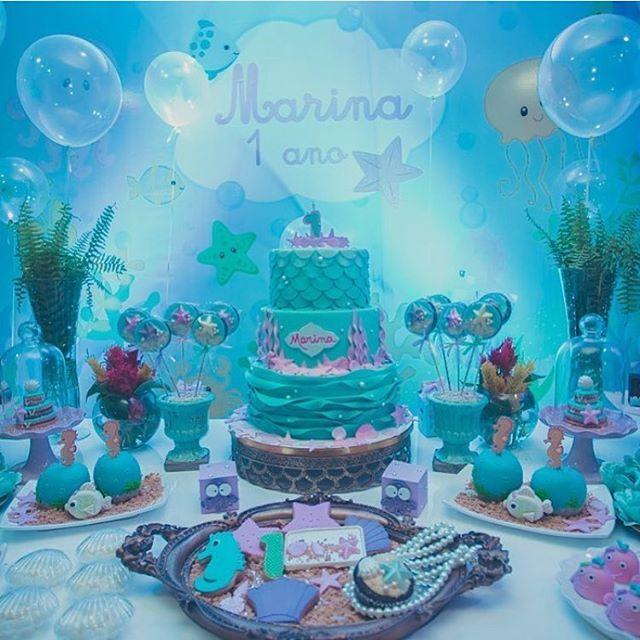 #mulpix Fundo do Mar   Painel: @trimidia. A foto da festa completa está no post anterior!!. Decor: @roberta.novis  Bolo: @confeitariasiriguela #dentrodafesta
