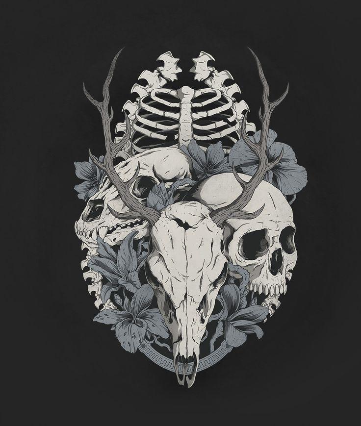 Pagan Skulls, Allan Ohr on ArtStation at https://www.artstation.com/artwork/o8ADm