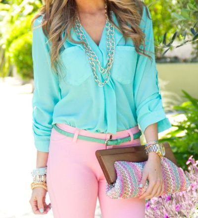 Spring: Colors Combos, Outfits, Cotton Candy, Fashion, Shirts, Spring Colors, Pink Pants, Pastel Colors, Bright Colors