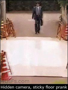 Sticky-floor-prank