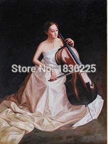 handmade oil painting beautiful Chinese girl with musical instrument cello music oil painting for living room decoration