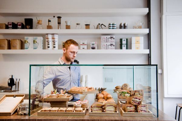 talkhouse coffee | portobello road.  Like the shelves in the back.  Maybe use natural wood?