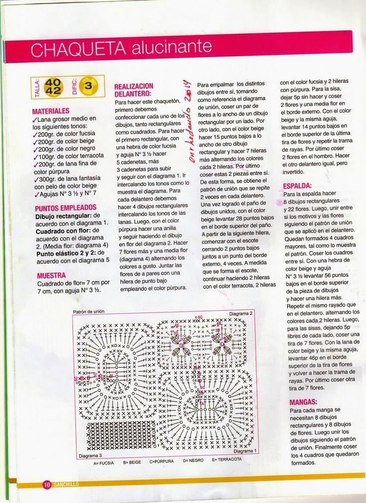 Chaqueta Alucinante de Tricot Instrucciones - Patrones Crochet