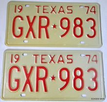 1974 Texas License Plate Pair Huntsville Prison Made NOS