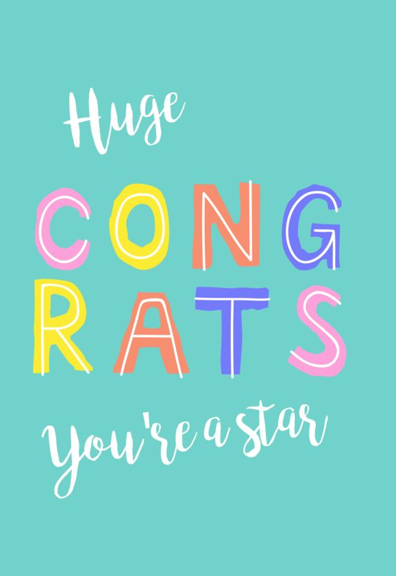 Huge congrats, you're a star card - Free greeting card with every order of Postabloom flowers