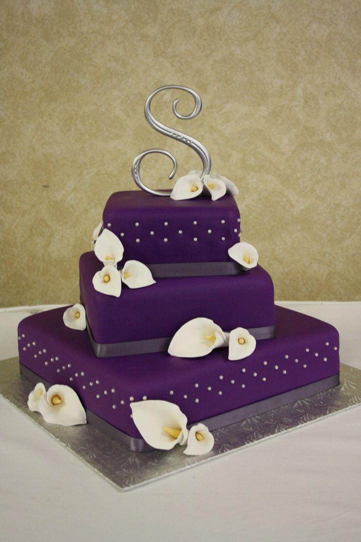 wedding cake - purple wedding cake with hand made calla lilies http://www.invitesweddings.com/b/wedding-cakes/purple-wedding-cakes