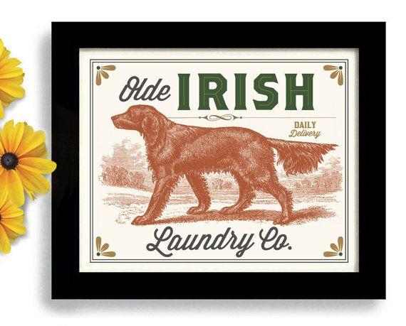Ierse Setter Wasserij kamer Decor Ierland Print hond door DexMex