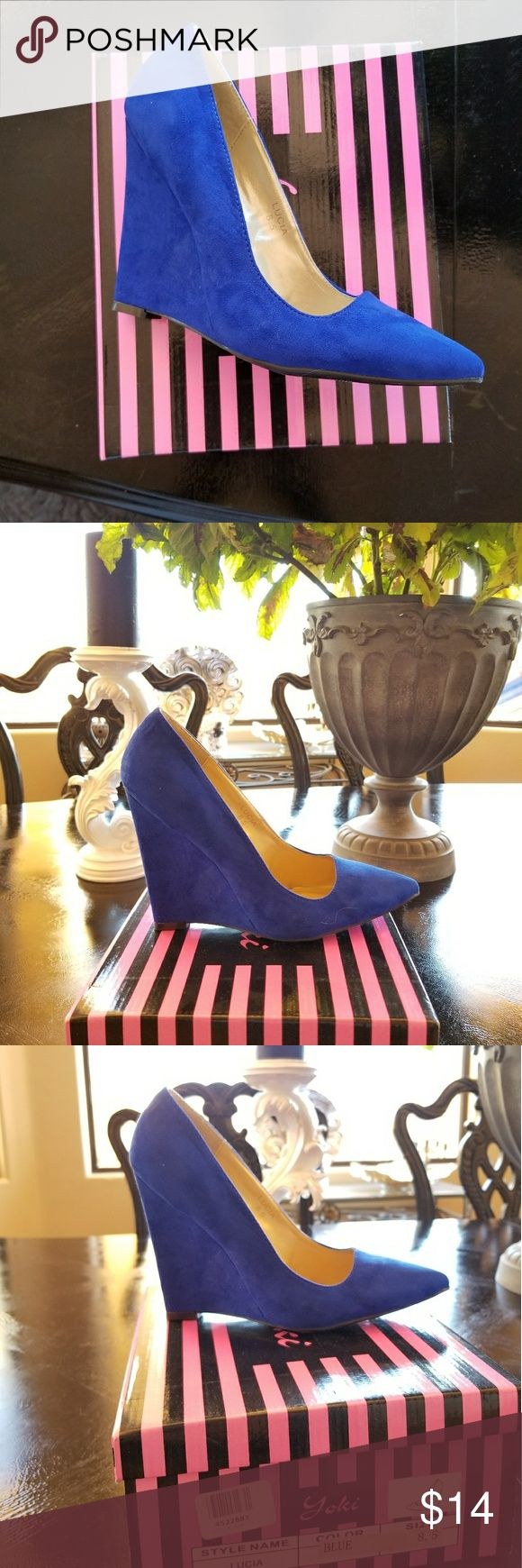Yoki Royal Blue Wedge Heel. New 8.5M Fabulous Faux Suede Wedge Pointed Toe Heels. Heel height is approx 4 inches. Yoki Shoes Wedges