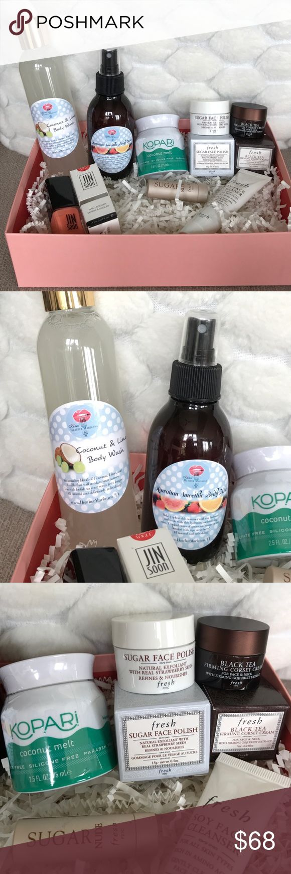 NEW 🌞SUMMER ORGANIC FRESH SKIN/BODYCARE BOX PRICE FIRM UNLESS BUNDLED🌞PLEASE NO OFFERS ON BUNDLES🌞ALL NEW Coconut&lime full size body wash & Hawaiian smoothie body mist both made straight from the beauty kitchen, KOPARI coconut melt 2.5fl.oz, FRESH sugar strawberry 🍓 natural exfoliant face scrub, FRESH black tea ☕️ firming corset cream, FRESH sugar nude tinted lip treatment SPF15, FRESH soy face cleanser, JIN SOON full size nail polish In Vogue rose. DONT MISS OUT ON THIS AMAZING LOT! SO…