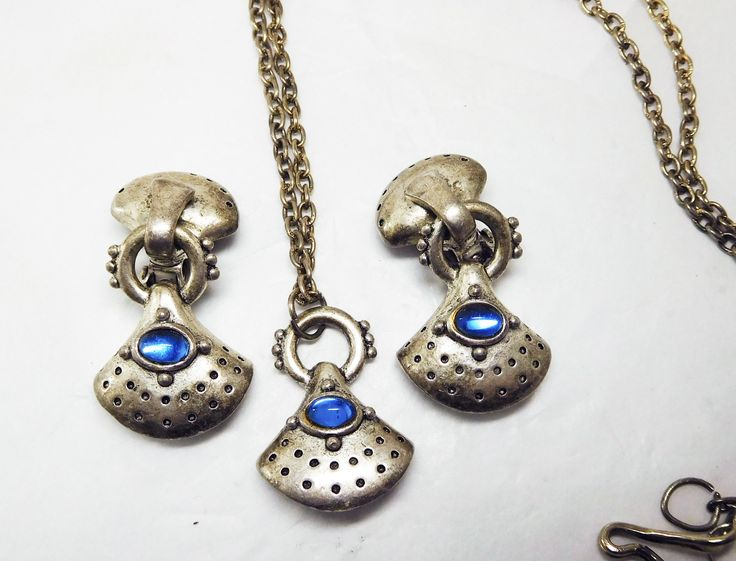 C. STEIN Modernist Necklace & Earrings  Pewter color Sapphire Blue glass Etruscan Modern by JewlsinBloom on Etsy