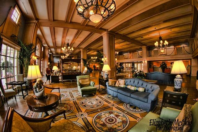 The lobby at Disney's Yacht Club.