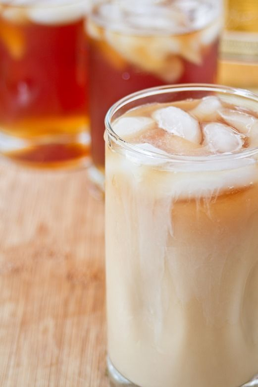 Spiked Thai Iced Tea -- I used Yogi Sweet Thai Delight tea. Sweetened condensed milk makes it yummy and creamy but adding just regular milk and a bit of simple syrup is also pretty darn tasty and a lot healthier.