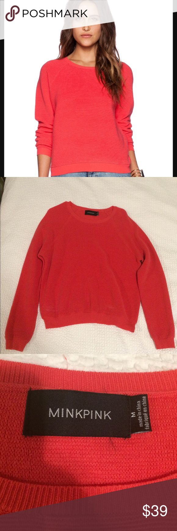 Ribbed Crew Neck MinkPink Sweater Strawberry color. Very soft. Worn two or three times. No stains or scratches. MINKPINK Sweaters Crew & Scoop Necks