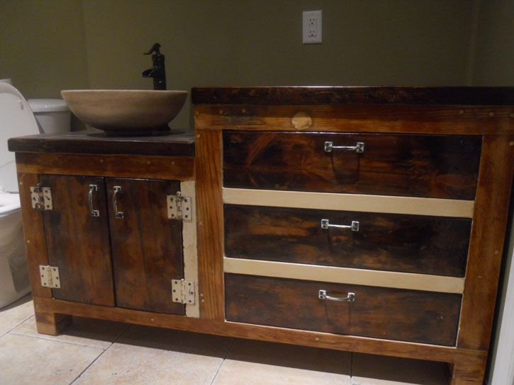 Website Picture Gallery Reclaimed wood double height bathroom vanity with drawers