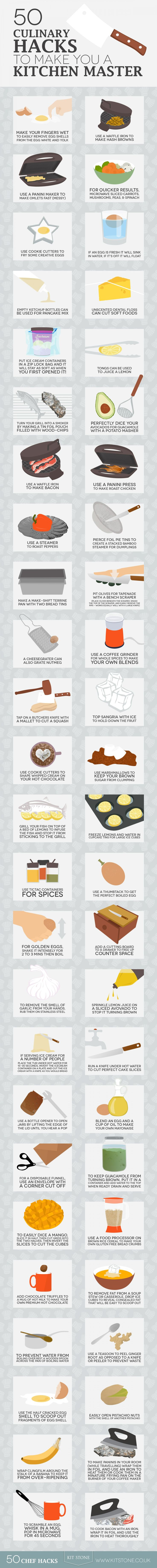 50 cooking kitchen culinary hacks infographic