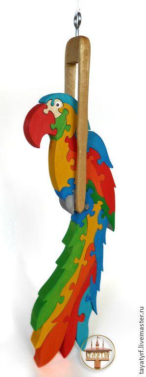 Попугай деревянный паззл-подвеска - подарок,подарок на любой случай,интерьерная игрушка