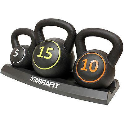 Mirafit 3pc Vinyl Kettlebell Weight Set & Stand Gym Fitness/Strength Training