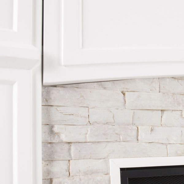 Harper Blvd Stratford White Faux Stone Electric Media Fireplace