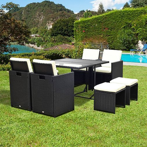 Outsunny 9PC Rattan Garden Furniture Outdoor Patio Dining Table Set 8  Seater Stool Black. Best 20  Rattan garden furniture ideas on Pinterest   Garden fairy