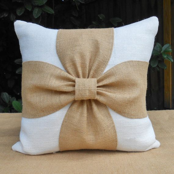 Burlap bow pillow cover in white or brown and by LowCountryHome