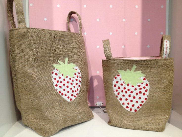 Hessian PVC lined bags with cotton strawberry appliqué.