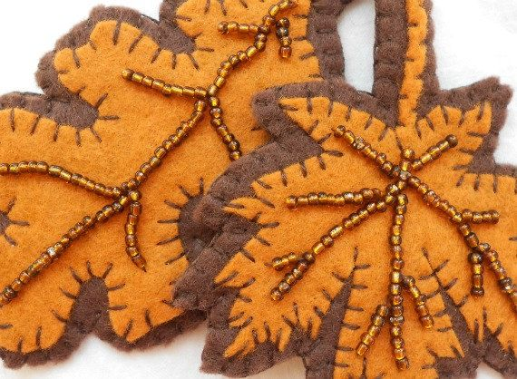 Autumn leaves felt ornaments - beaded details via ETSY