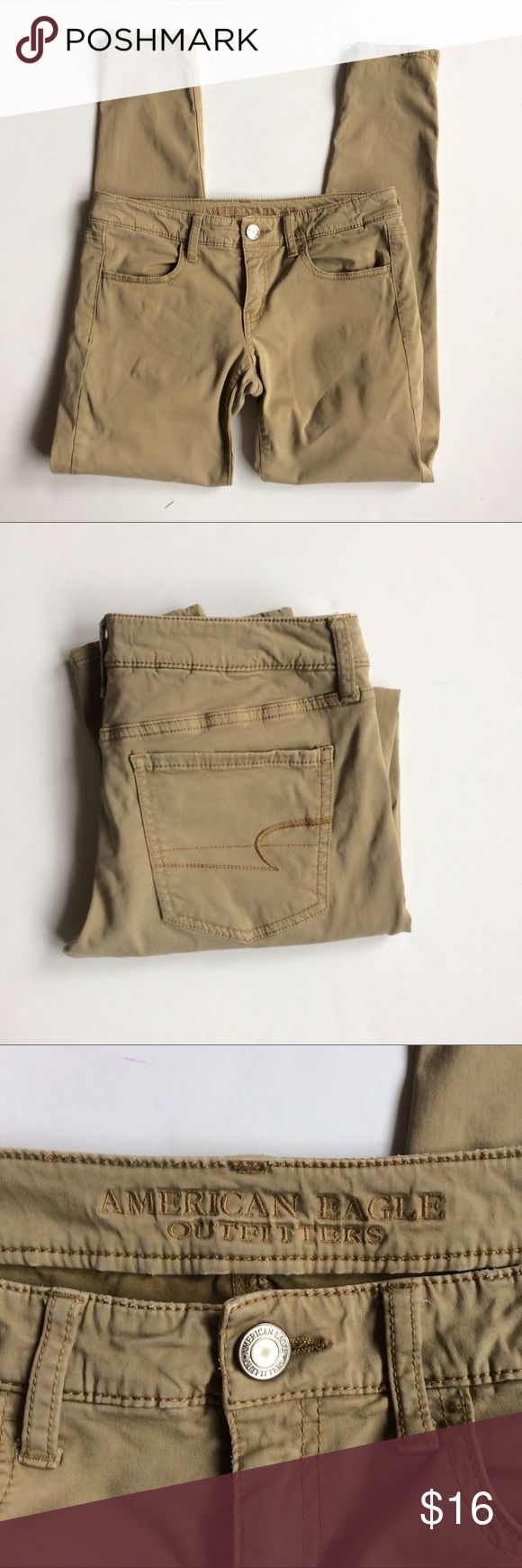 AE 🦅 Khaki Jeggings American Eagle outfitters khaki Jeggings in good used condition. With some slight color fading and wear on back pockets. Still have a lot of life left in them. Feel free to make an offer. American Eagle Outfitters Pants