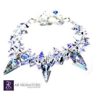Glacier Bracelet, hancrafted by AR Signature,Jewelry made with Genuine Swarovski® Crystal and Plated wire from USA.  Variation version of Ice Queen Bracelet,  Cool and luxurius looking bracelete that will make you the princess of the hour..  The Crystal are born from the colaboration of Swarovski and Jean Paul Gaultier