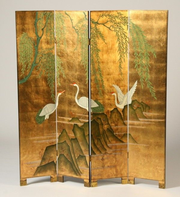 438: Four panel Chinese room divider : Lot 438