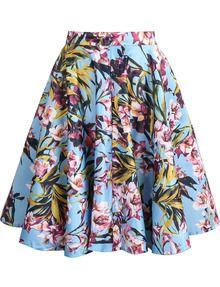 Blue Floral Ruffle Skirt