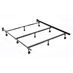 Solutions Compact Universal Folding Bed Frame with Tool-Free Assembly, Black Powder Coat Finish, Twin – California King