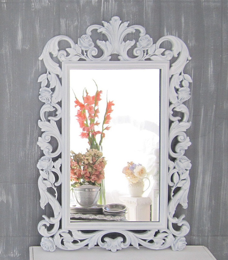 "HOLLYWOOD REGENCY MIRROR For Sale White French Country Decor Ornate Chalkboard  29""x19"" Vintage Mirror Syroco Mirror Boudoir. $149.00, via Etsy."