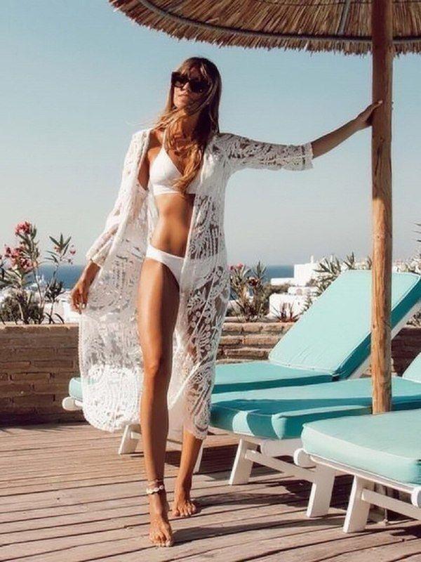 Bohemian White Beach Cover Up Swimwear In 2020 White Beach Outfit Bridal Swimwear Fashion