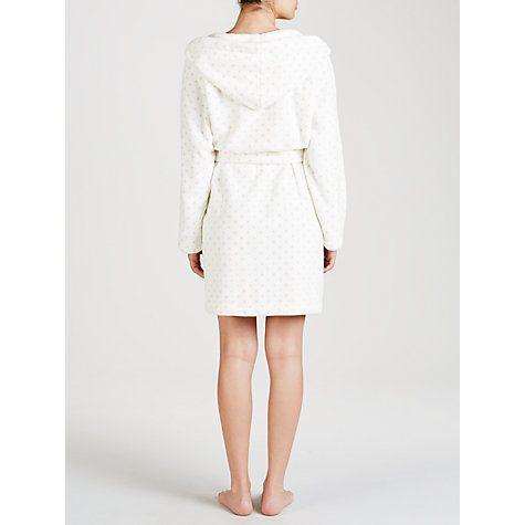 Buy John Lewis Short Spot Hooded Robe, Ivory Online at johnlewis.com