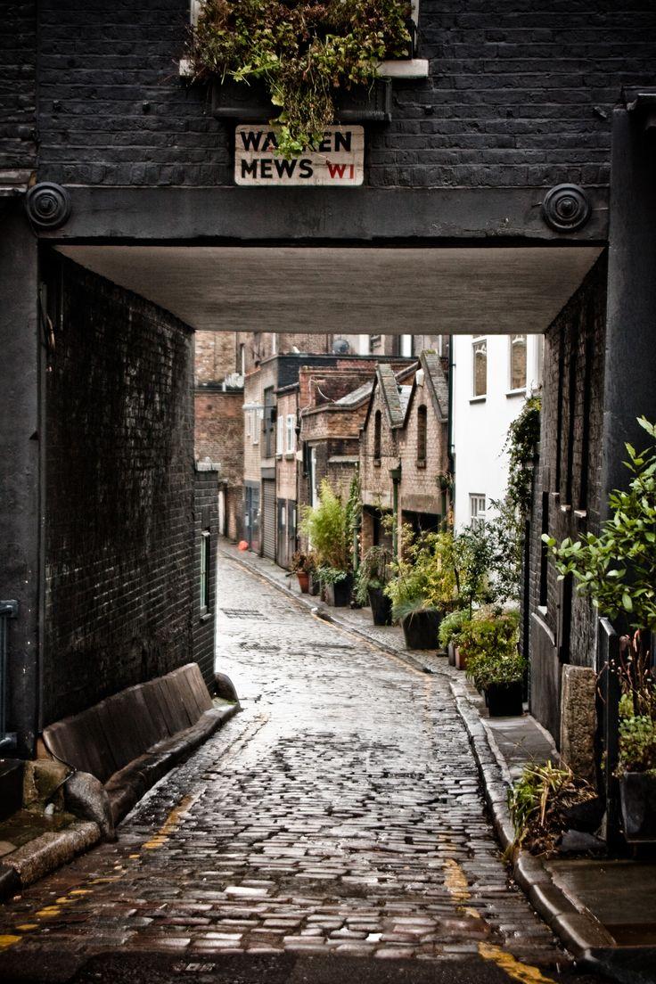 Warren Mews cobblestone street, London, UK