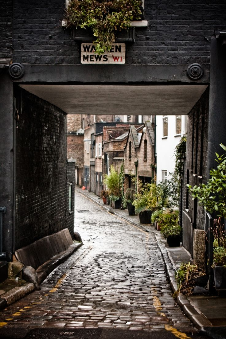 Warren Mews cobblestone street, London, UK