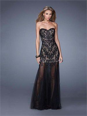 Sheath/Column Sweetheart Lace Tulle Low Back Chiffon Long Prom Dress PD11900
