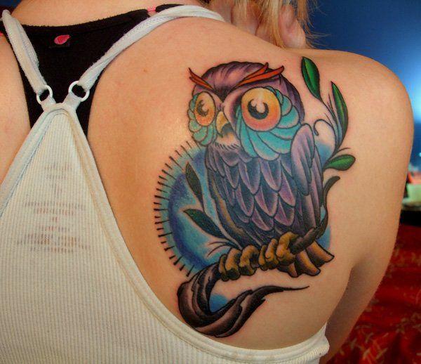 Colour Owl Tattoo on Back - 55 Awesome Owl Tattoos  <3 <3