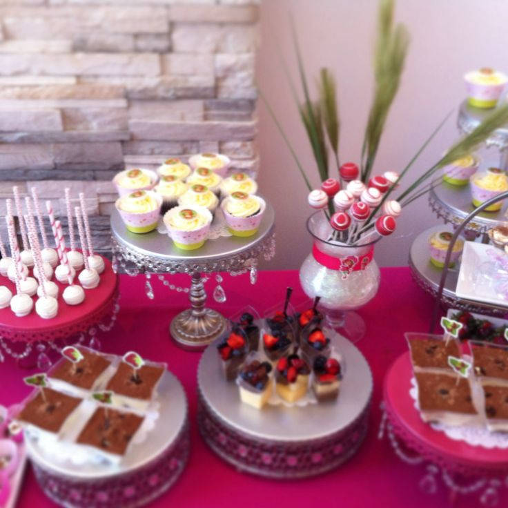 Candy bar - tiramisu in a cup cupcakes cakepops fruit cups -strawberry shortcake theme