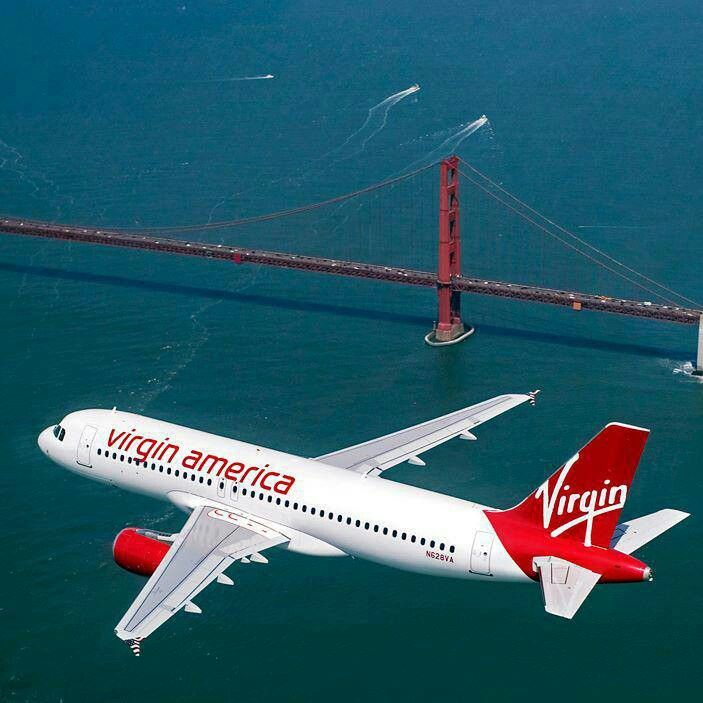 San Francisco Golden Gate Bridge & Virgin America Airlines.
