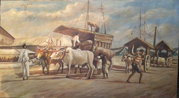 For Sale   Tanjuk Perak Harbor , oil on canvas, 150 x 85 cm