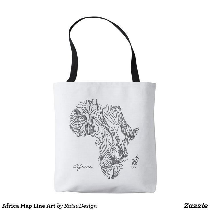 Africa Map Line Art Tote Bag