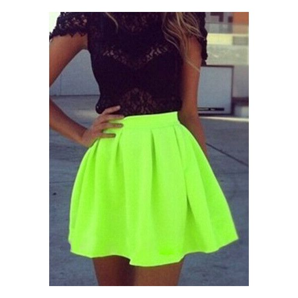 Neon Green Pleated Flare Skirt (10 JOD) ❤ liked on Polyvore featuring skirts, outfits, dresses, bottoms, green skirt, flared skirt, knee length pleated skirt, pleated circle skirt and neon green skater skirt