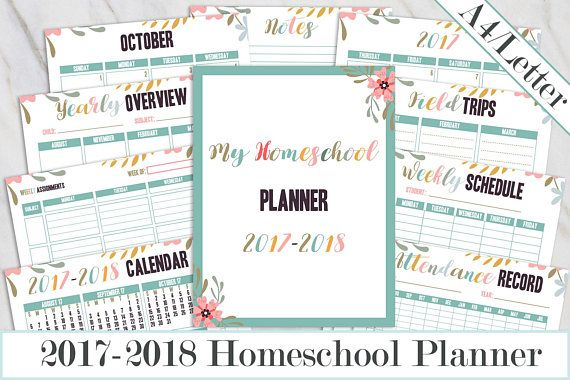 Instant Download - Homeschool Planner 2017-2018 Printable, School Planner, Lesson planner, Curriculum, Weekly schedule, Assignment planner, Attendance record - A4/Letter size  Get organized for back-to-school with this floral and colorful 2017-2018 Homeschool Planner.  WHATS INCLUDED:  -