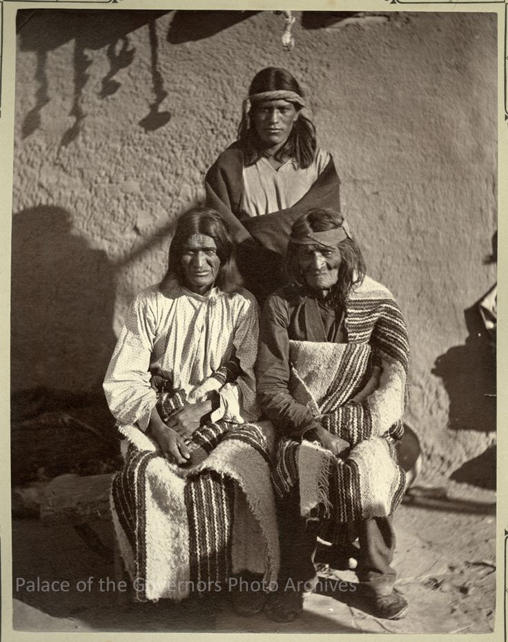 Palowatiwa, Nanahe and Pedro Pino of Zuni Pueblo, New Mexico Photographer: John K. Hillers Date: 1879-1880? Negative Number 073898